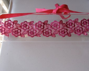 Fuchsia Pink Beaded Lace Flower Halo Headband with Satin Ribbon Tie, for weddings, bridesmaid, parties, special occasions