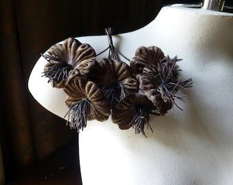 Brown Flowers Velvet Millinery Flower YoYos for Boutonnieres, Bridal, Fascinators, Floral Supply MF 99
