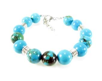 Natural Turquoise Bracelet, Blue Matrix Natural Turquoise, Gemstone Jewelry