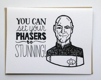Set Your Phasers to Stunning - Hand Lettered Greeting Card
