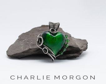 Green Heart necklace, Wire Wrapped Jewelry, Gift For Her, Gift For Women, Silver Necklace, Sterling Silver, Bridesmaid Gift, Birthday Gift