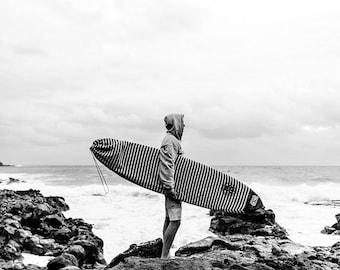 Surf Photography, Vertical Wall Art, Black and White Beach Print, Surfer, Surfboard, Hawaii Landscape, Beach Photo, Ocean, Waves, Seascape
