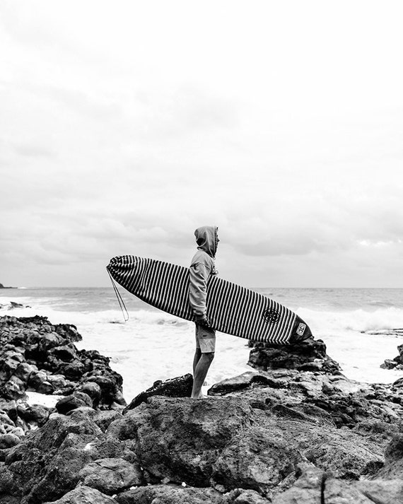 Surf photography vertical wall art black and white beach