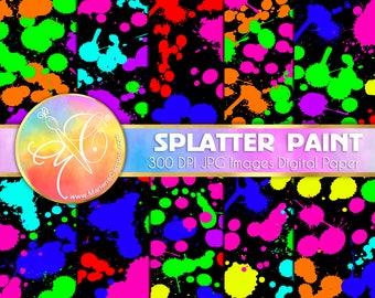 Neon Paint Splatter Digital Paper, Neon Digital Paper, Neon Party Decoration, Printable Scrapbook, Digital background, Scrapbooking Paper