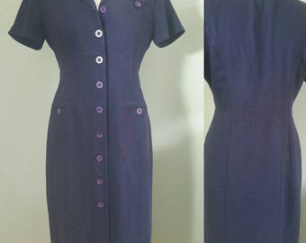 1980s Navy Shirt Dress Size 12 Vintage Clothing Women/Vintage Dress/Vintage Retro .Maxi Dress.