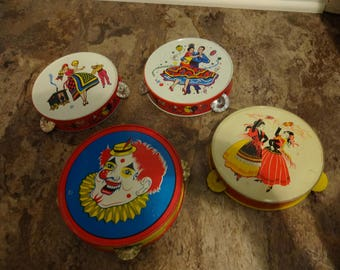 4 tin Tambourine Toys made in the USA (gypsies, clown, dancers) FREE shipping!