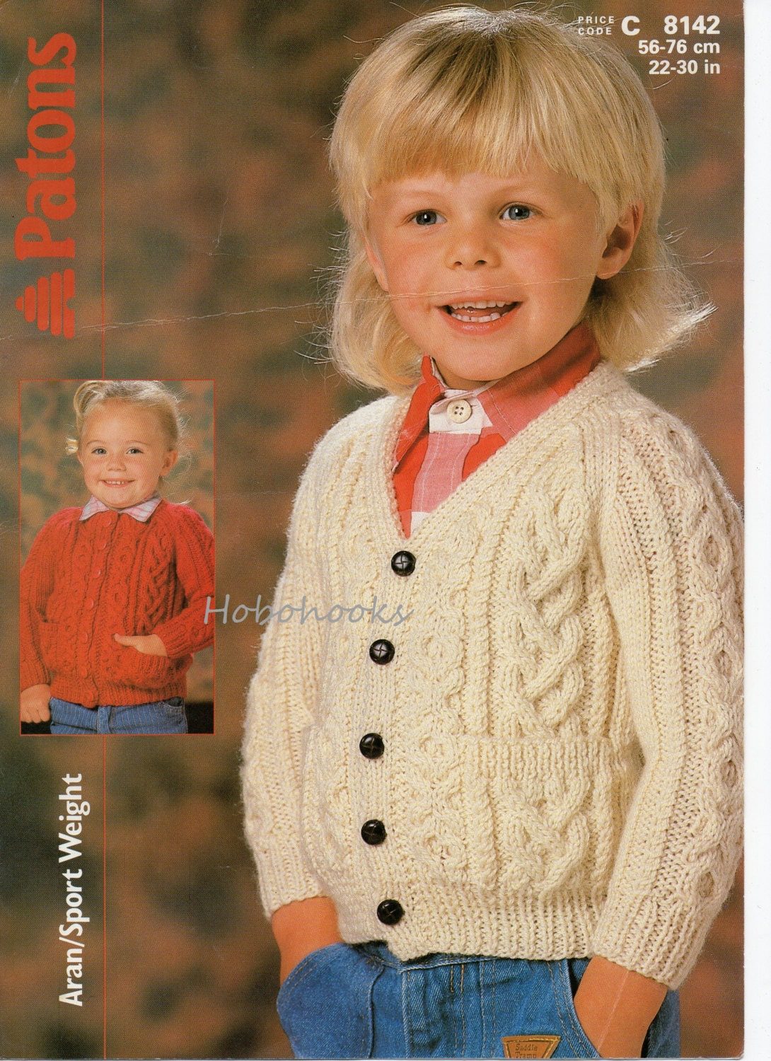 childrens aran cardigan knitting pattern pdf download childs cable ...