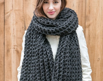 Chunky Knit Scarf // Oversize Scarf // Wool Blanket Scarf // XL Ribbed Scarf shown in Charcoal