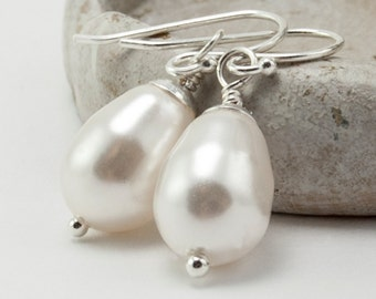 White Pearl Earrings Wedding Jewelry Sterling Silver White Swarovski Crystal Pearls Birthstone Jewelry June Birthstone Earrings