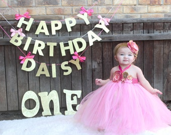 Gorgeous Beautiful Medium Pink and Gold Satin Shabby Chic Flower Tutu Dress for Baby Girl 6-18 Months old First Birthday Hot Pink