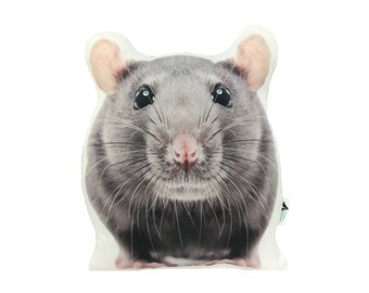 Rat Shaped Cushion, Add Custom Lettering/Name, Handmade in UK By Creature Comforts Direct, Rat Pillow, Animal Cushion, Rat Gifts