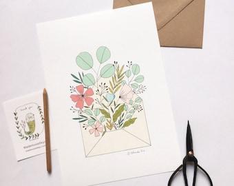 Bouquet de fleurs, illustration, affiche pour décorer la maison, format A4 - nature décor