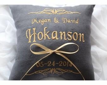 Anello cuscino portatore, cuscino nuziale, cuscino anello, anello nuziale cuscino, cuscino di nozze personalizzati, ricamati cuscino (BRP16)