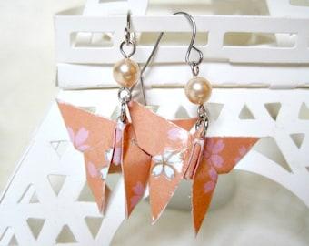 Origami Earrings - Paper Earrings - Butterfly Earrings - Origami Jewelry - Paper Jewelry - gift for her - WY12 - VonnesHandmadez