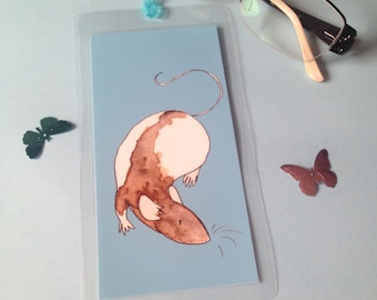 Handmade bookmark, fancy hooded rat watercolour illustration, blue, laminated, blue ribbon, gift for book lovers readers