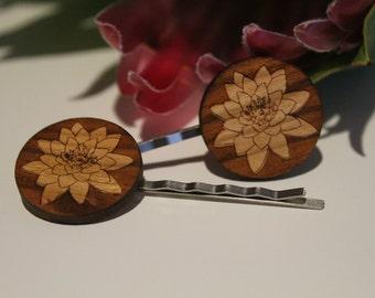 Decorative Bobby Pins-Australian Bobby Pins-Hair Accessory-Hair Pin-Australian Wildflowers-Water Lily-Wood Lasercut