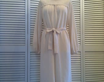 Vintage Polyester & Lace Cream Dress