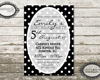 Black and White Dots Girls Ladies Tweens Birthday Party Invitation Digital Download File