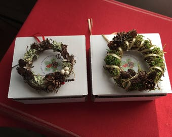 """Two All Natural Christmas Ornaments, 3"""" Grapevine Wreath Christmas Ornaments, Pine Cone Christmas Ornaments - set of two"""