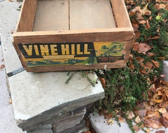 Vintage Vine Hill Wooden Fruit Crate - Wooden Box - Grape Box - Vintage Produce Crate - Vintage Fruit label - Rustic Decor - Vintage Crate