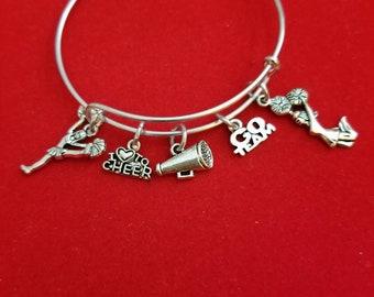 Silver Cheerleader Themed Charm Bracelet