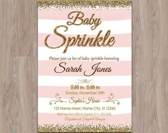 Baby sprinkle invitation girl, baby sprinkle invite, Pink Gold Baby Sprinkle Invitation, baby girl sprinkle invitation, girl baby sprinkle