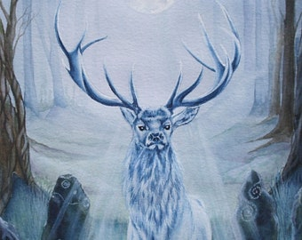 "Original  Watercolour Painting ""Dreaming White"" Stag Forest Stone Circle, Druid"