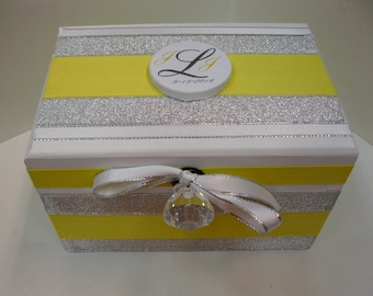 Wedding Recipe Box with Monogram Plaque-Yellow and Silver