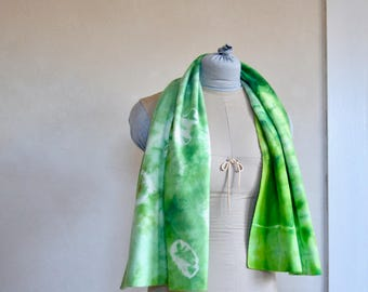 Hand Eco Dyed Scarf Green Toned Soft Merino Wool Fabric Wrap Shibori Style Organic Abstract Imagery