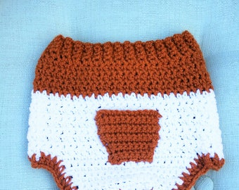 UT Longhorn Diaper Cover, Burnt Orange Diaper Cover, Baby Diaper Cover, Crochet Diaper Cover, Baby Soaker, UT Longhorn Baby Soaker