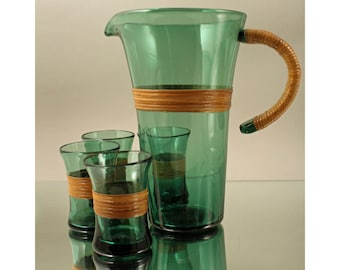 Rare Set of Pitcher and Four Glasses with Wicker/Rattan, Denmark.  Mid Century