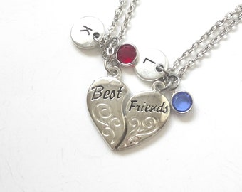 Set of 2 Best Friend Necklaces, Heart Necklace, BFF, Birthday Gift, Gifts for Her, Birthstone Initial Charm (BF15)