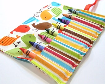 Crayon Roll - AUTUMN BIRDIES Crayon Roll Up - Stocking Stuffer - Kids
