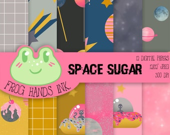 Space Sugar digital paper, commercial use, scrapbook papers, backgrounds , cards