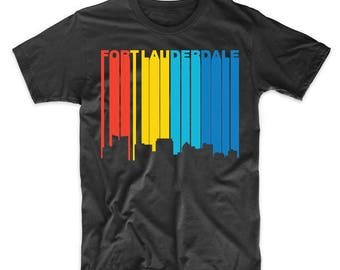 Retro 1970's Style Fort Lauderdale Florida Skyline T-Shirt