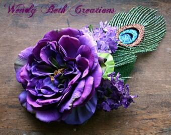 Lady Gwenda Hair Clip Fascinator - Vegan, ATS, Tribal, Belly Dance, Faux Peacock Feather, Hair Garden, Purple, Lilac, Peony