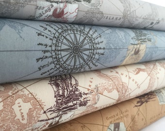 Vintage Style Map 100% Cotton Poplin Fabric **Ship Ocean Sea Boat Antique style**