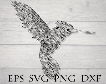 Zentangle bird svg / mandala bird svg / intricate svg file / zentangle animal svg / zentangle hummingbird svg / cricut design svg / flourish