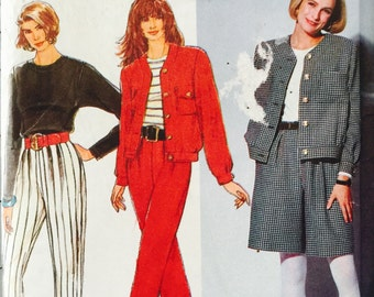 Simplicity 7575, Size 12-14-16, Misses' Pants or Shorts, Top and Unlined Jacket Pattern, UNCUT, Vintage 1991, Retro