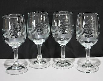 Set of 4 Javit Crystal Portwine Glasses