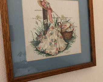 Paula Vaughan Summers Remembered Pink Ribbons Completed Finished Framed Cross Stitch