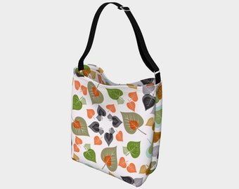 Double Print Spring Leaves Day Tote