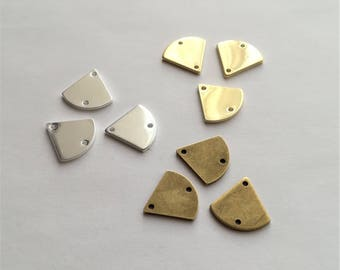 6 connectors triangles base rounded brass (bronze, gold or silver) - 13mm