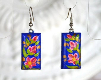 Blue pink flower earrings gifts|for|sister Gift ideas handmade earrings wooden jewelry Dangling Earrings eco friendly handmade jewelry Boho