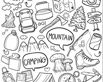 Mountain Day Forest Family Friends Holidays Doodle Icons Clipart Scrapbook Set Artwork