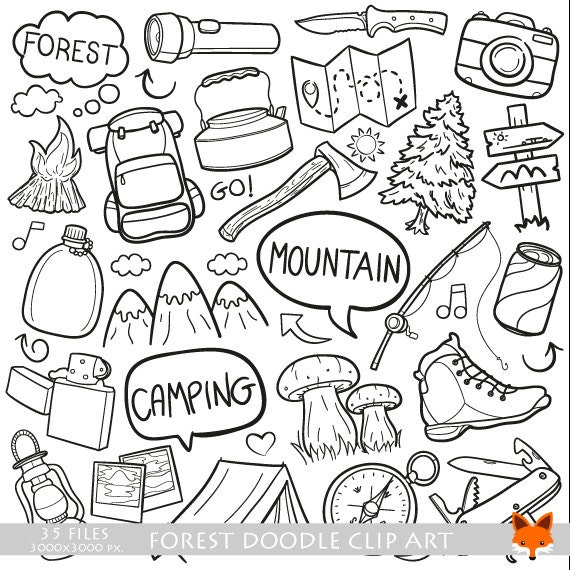 Mountain Day Forest Family Friends Holidays Doodle Icons