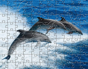 Dolphins Zen Puzzle - Hand crafted, eco-friendly, American made artisanal wooden jigsaw puzzle