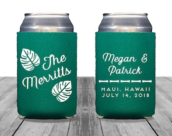 Neoprene Can Coolers, Personalized Coolies, Wedding Can Huggers, Custom, Hawaii Wedding, Can Coolers, Tropical Wedding, Palm Leaves, 1317