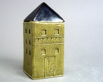 Miniature Home , Sage Green House  , Townhouse , Small Square Home