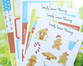 Gingerbread Planner Sticker Kit - Happy Planner - Erin Condren - Plum Planner - Functional Stickers - Matte - Weekly Planner
